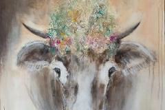 """""""Kuh"""" 80 x 80 cm, Acryl auf Leinwand, Collage - verkauft -"""