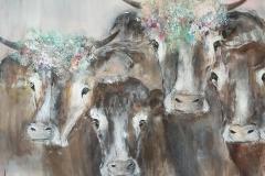 """""""Kühe"""" 100 x 100 cm,Acryl auf Leinwand, Collage - verkauft -"""