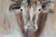 """""""Kuh"""" 90 x 90 cm, Acryl auf Leinwand - verkauft -"""