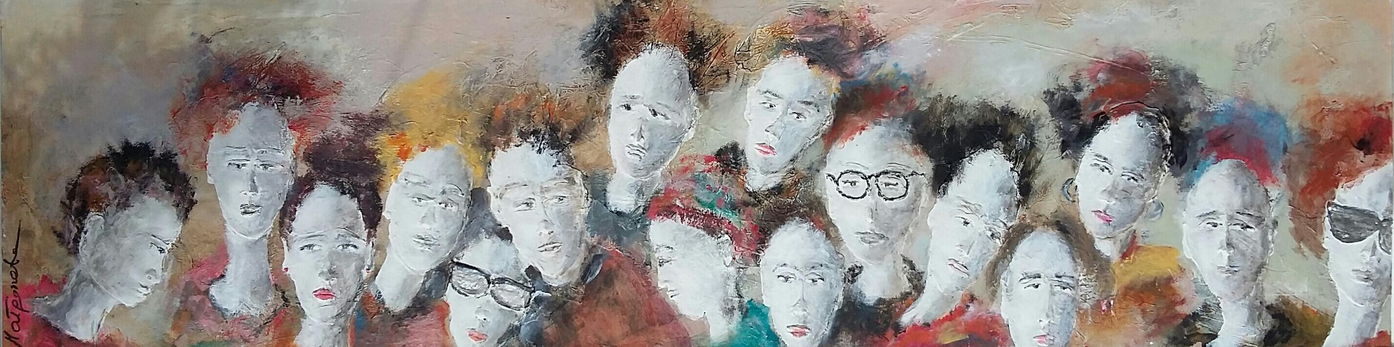 """""""crowd"""" 170x47 cm, Acryl auf Hartfaserplatte, Acrylmasse - verkauft -"""