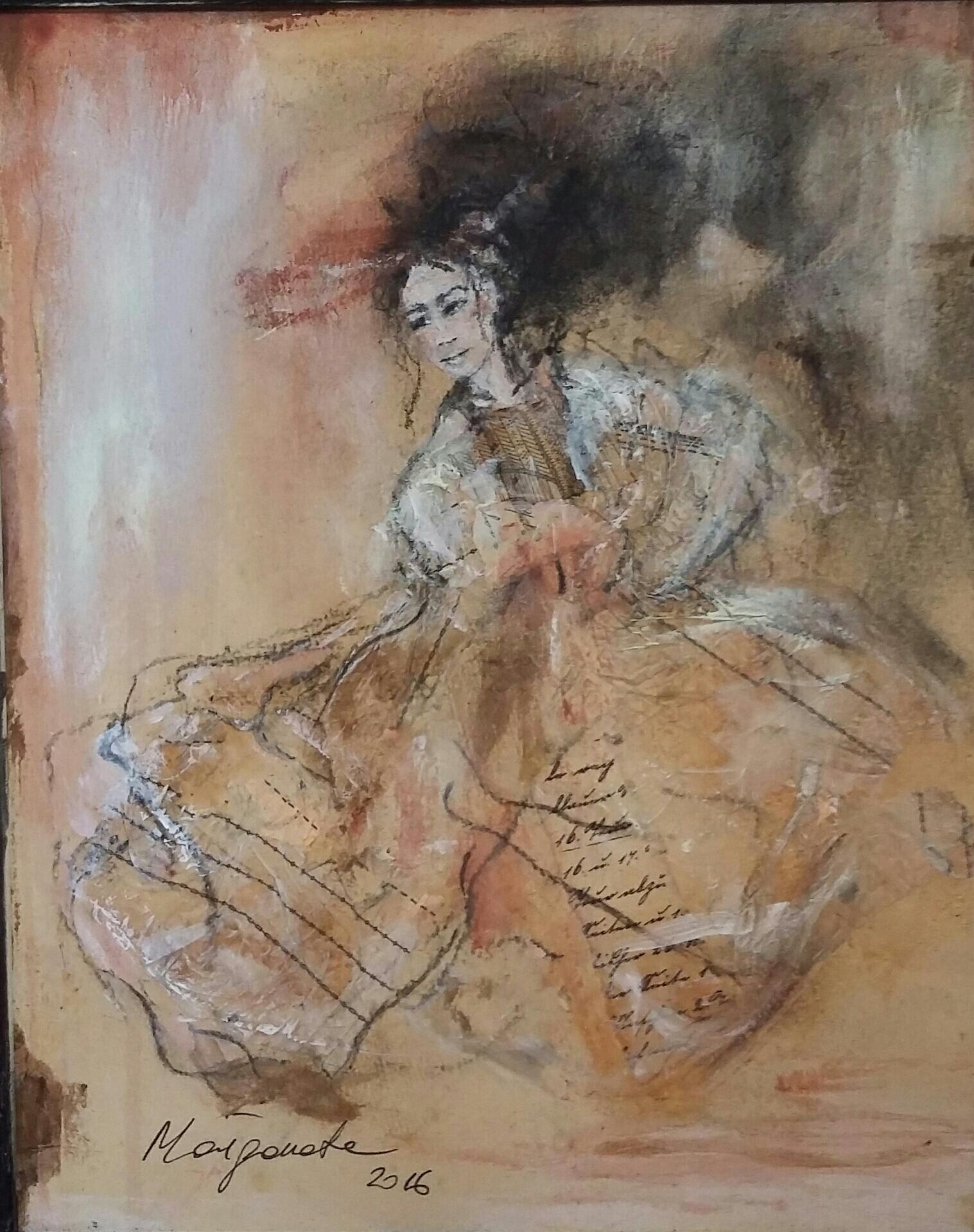"""Femme III"" 26x30 cm, Acryl auf altem Papier, Collage - verkauft -"