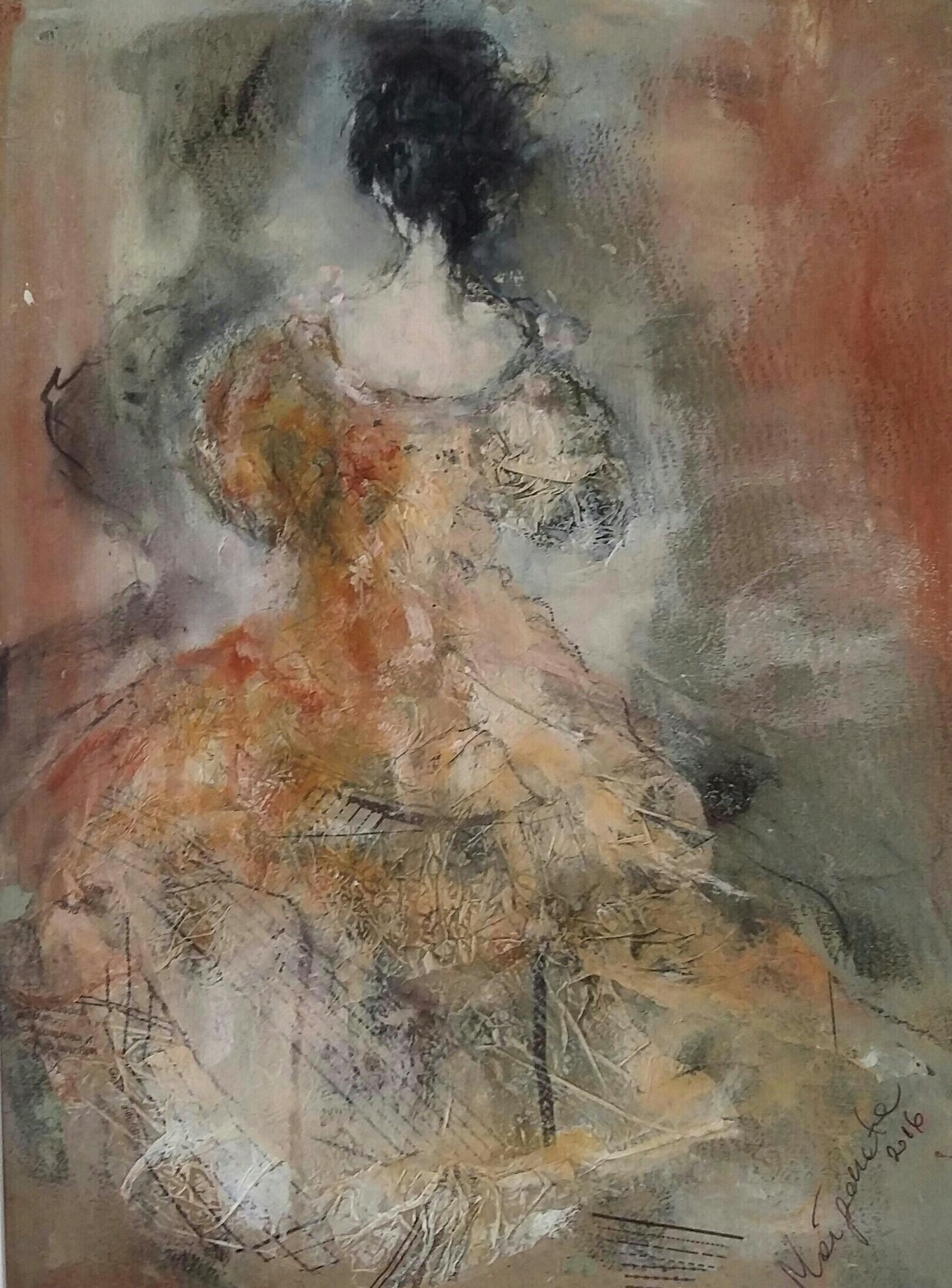 """Femme I"" 30x40 cm, Acryl auf altem Papier, Collage - verkauft -"