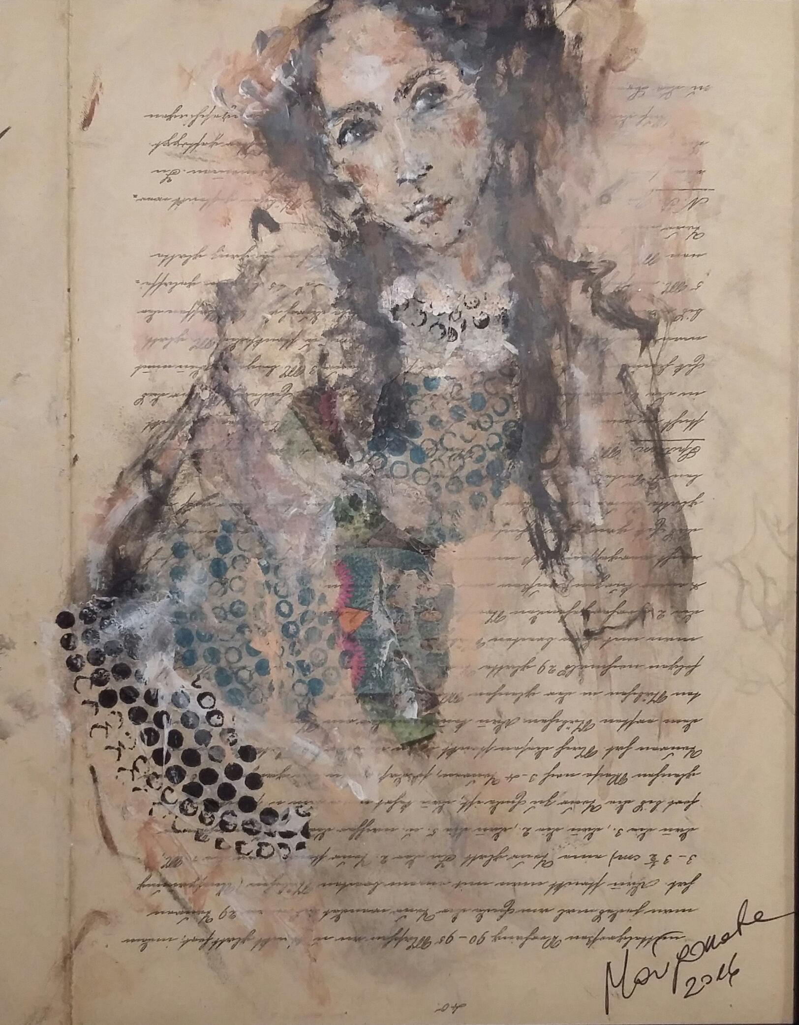 """""""Lily"""" 30 cm x 24 cm, Acryl, Kohle auf Papier"""