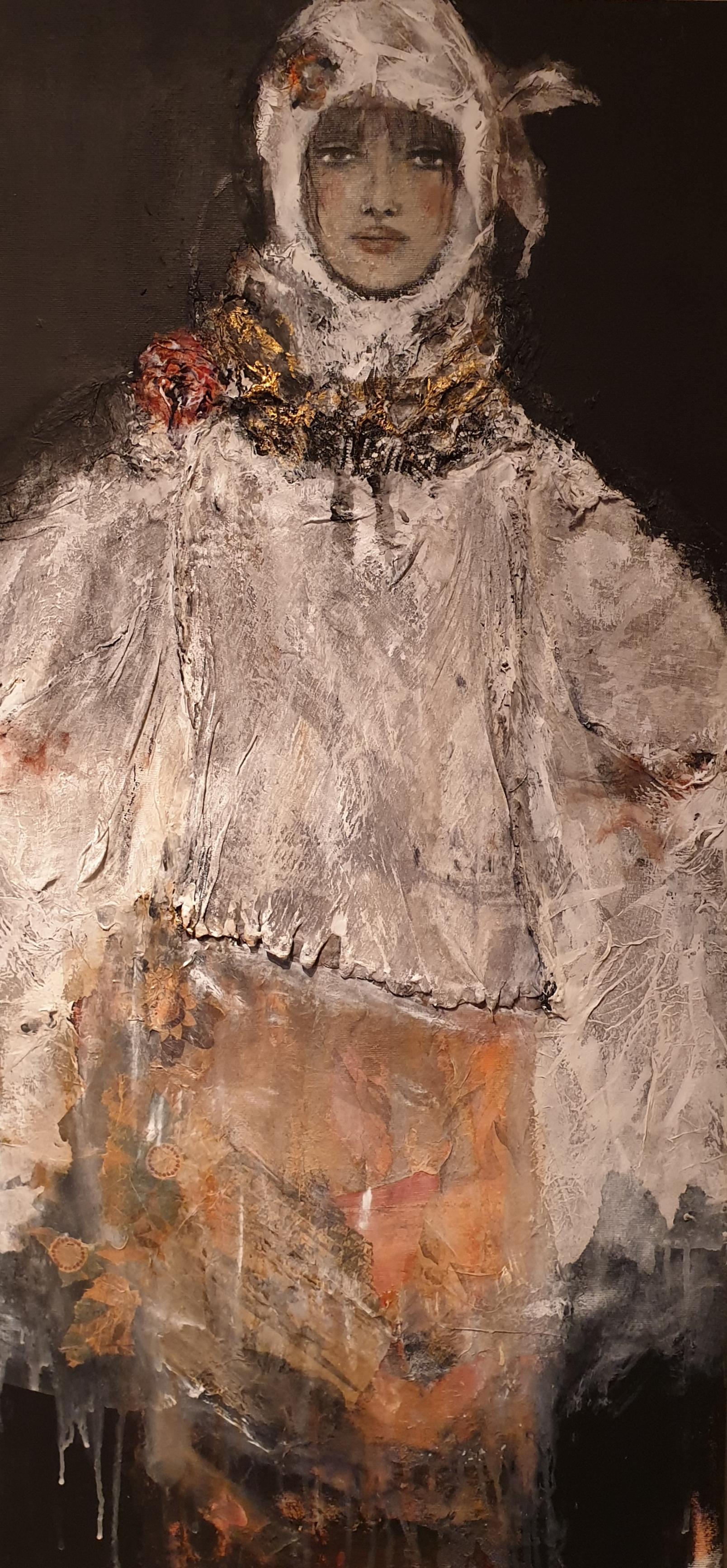 """""""JANA"""" mix media (Papier, Stoff, Kohle, Acryl auf Leinwand 99 cm x 47 cm"""