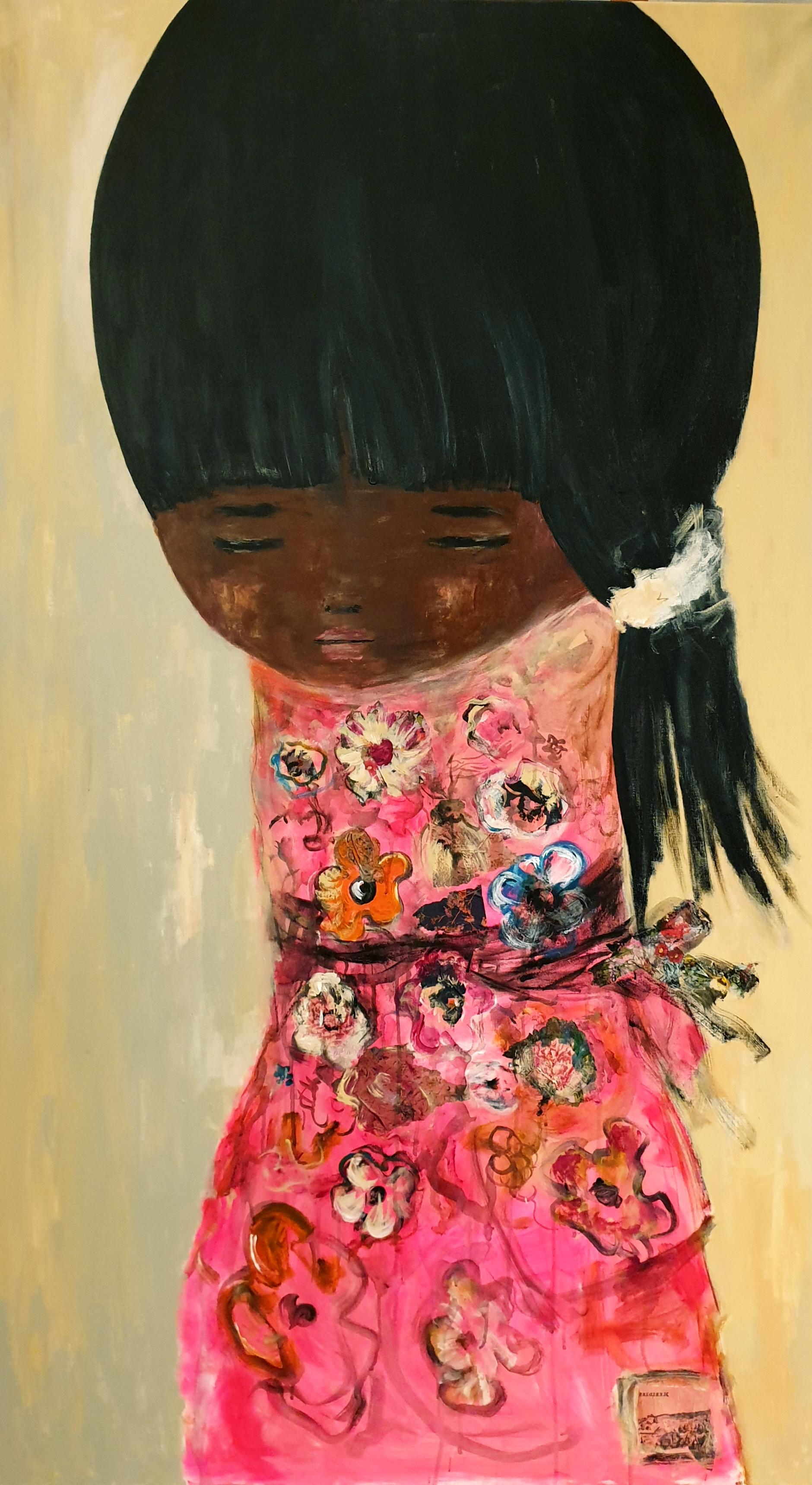 """Yoko"" das sonnenkind acryl auf Leinwand 160 cm x 90 cm"