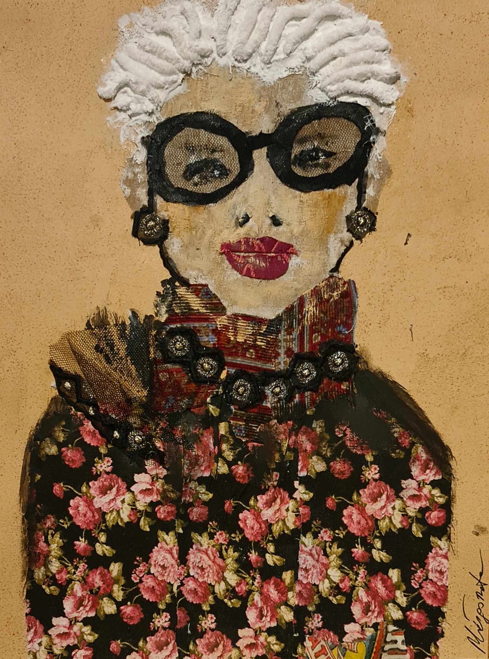 """""""Stil-Ikone"""" Collage aus Stoff auf Papier mit Rahmen hinter Glas"""