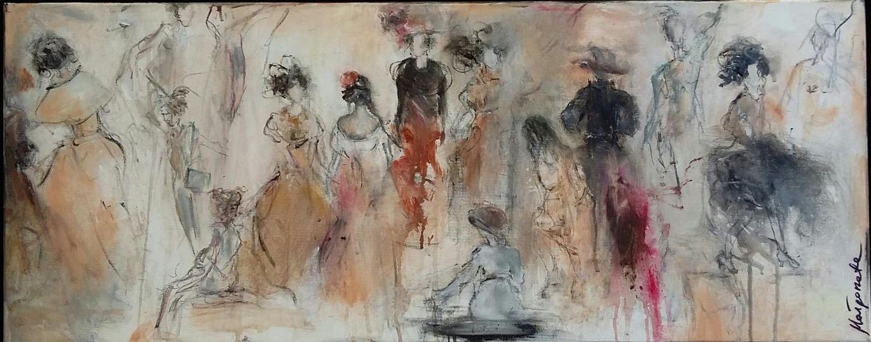 """""""Randgruppe I"""" 100 x 40 cm , Acryl auf Leinwand - verkauft -"""