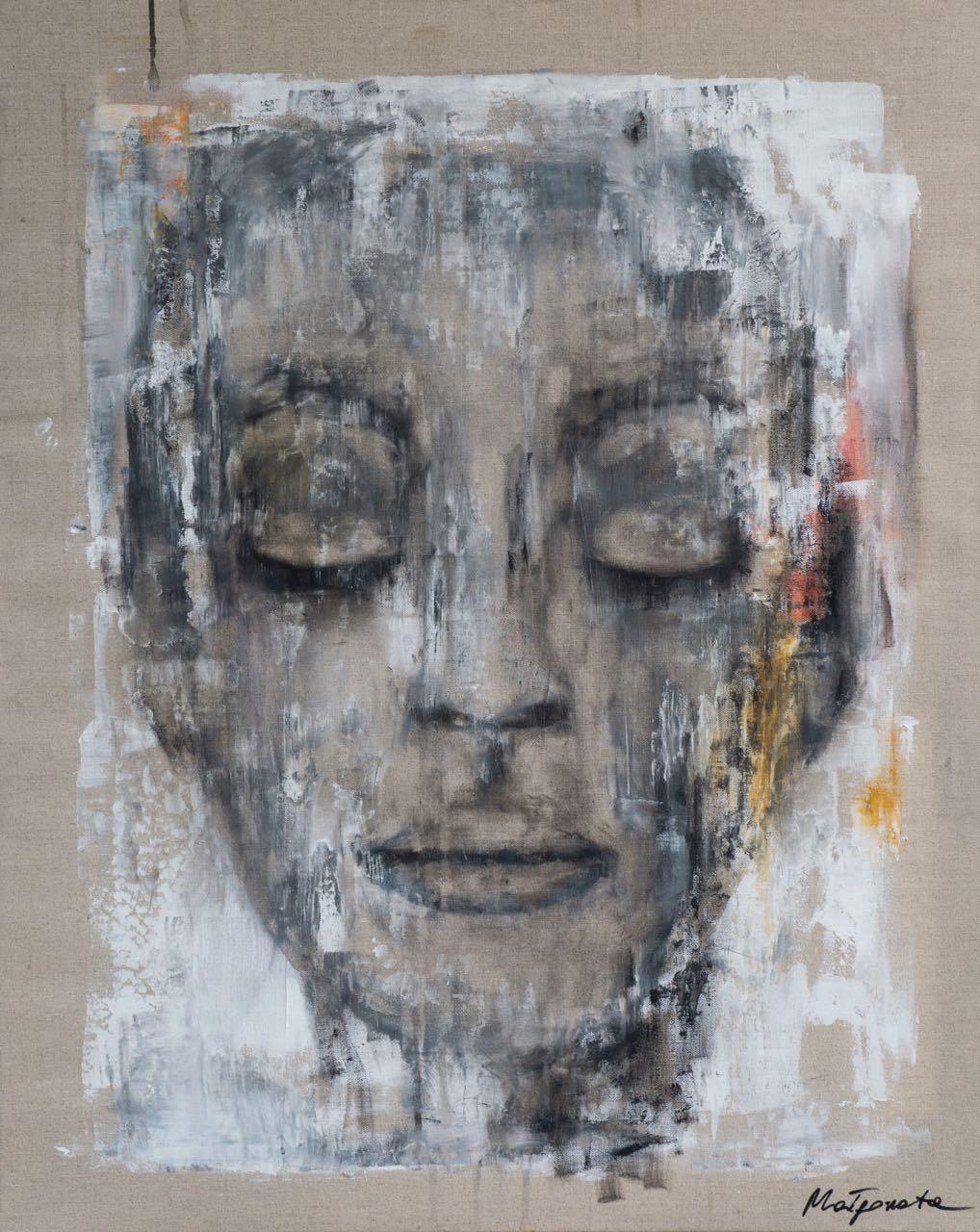 """""""abgelehnt"""" 100 cm x 80 cm, Acryl, Kohle auf Leinwand verkauft"""