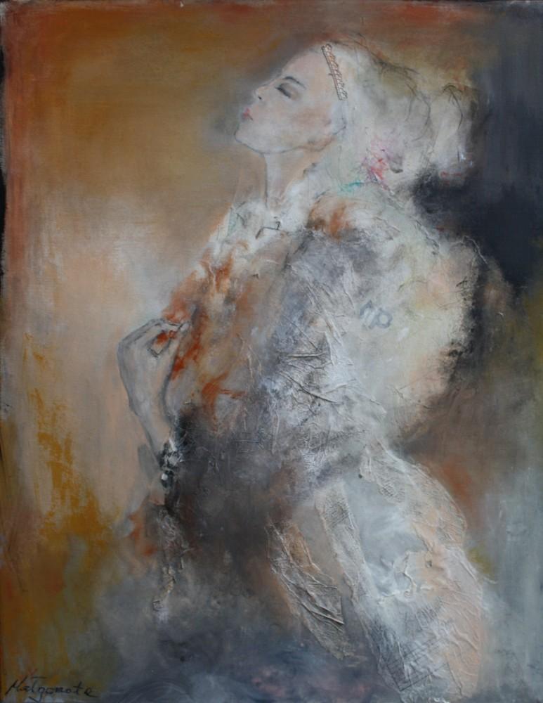 """""""Stille"""" 100x80 cm, Acryl auf Leinwand, Collage - verkauft -"""