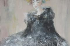 """Baronesse"" 120x80 cm, Acryl auf Leinwand, Collage - verkauft -"