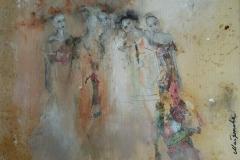 """Femmes I"" 30x42 cm, Acryl auf altem Papier, Collage - verkauft -"