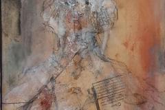 """Femme II"" 26x30 cm, Acryl auf altem Papier, Collage - verkauft -"