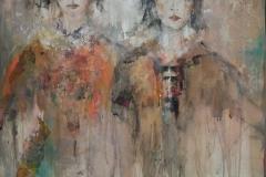"""""""Schwestern"""" 73 cm x 73 cm, Acryl, Collage auf Leinwand - verkauft -"""