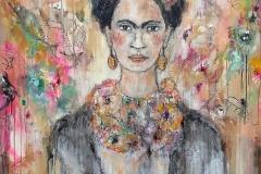 """Frida"" 170 cm x 100 cm, Acryl, Collage, Kohle auf Leinwand mit Rahmen - verkauft -"