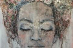"""""""Schließe die Augen"""" 107 cm x 86 cm, Acryl, Kohle auf Leinwand verkauft"""