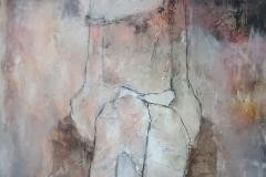 """fragend"" 120 cm x 90 cm, Acryl, Strukturpaste, Kohle auf Leinwand - verkauft -"