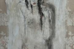 """abwesend"" 84 cm x 74 cm, Acryl, Kohle auf Stoff mit Rahmen verkauft"