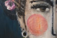 """Rebellin"" Acryl, Stoff auf Leinwand 100 cm x 70 cm - verkauft -"