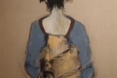 """hinreißend"" Acryl, Kohle auf Naturleinwand 100 cm x 80 cm verkauft"