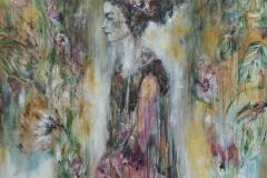 """""""Spring"""" 103 cm x 103 cm, Acryl, Collage auf Leinwand mit Rahmen - verkauft -"""