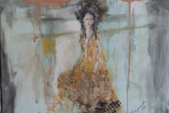 """Femme V"" 31 x 41 cm , Acryl , Kohle auf Papier mit Rahmen -verkauft -"