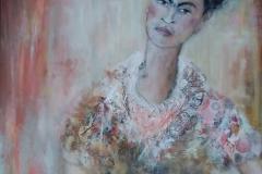 """Frida"" 70 x 80 cm, Acryl auf Leinwand, Collage - verkauft -"