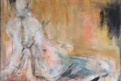 """""""Verträumt"""" 100x100 cm, Acryl auf Leinwand, Collage - verkauft -"""