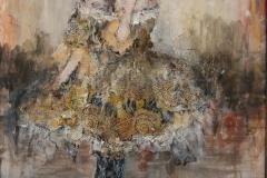 """Anouk"" 26 x 31 cm, Acryl, Kohle, Collage auf Papier mit Rahmen -verkauft-"