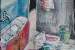 """""""Küche"""" 120x90 cm, Acryl auf Leinwand, Collage - verkauft -"""